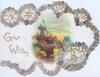 GOOD WISHES, perforated circular edge designs of forget-me-nots & 2 silver bells, river, bridge & windmill