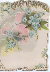 REMEMBRANCE (glittereed, R made of petals), forget-me-nots around pink rural winter inset