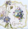 GREETINGS in gilt, blue phlox left, violets around rural inset right, marginal ribbon design. embossed