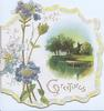GREETINGS in gilt , blue phlox left,  rural inset  water, trees distant church right  marginal ribbon design. embossed
