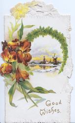 GOOD WISHES in gilt bronze wallflowers left, fern bordered watery winter rural inset, stylised yellow flowes top