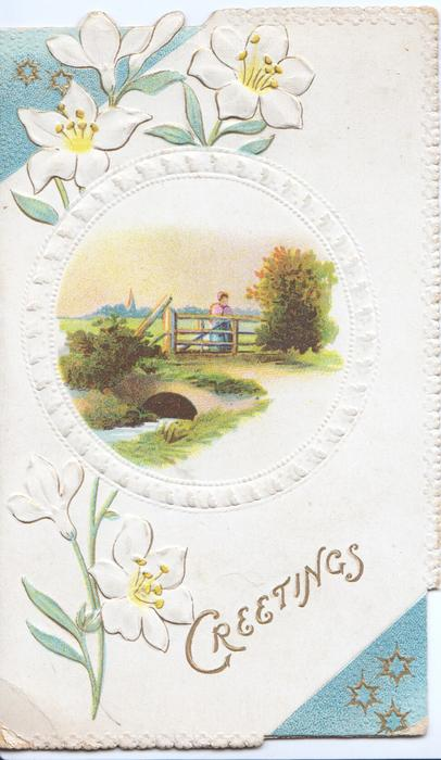 GREETINGS lower right, white campions left & behind circular design round rural inset of person standing at gate