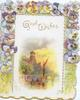 GOOD WISHES in gilt, 3 margin multicoloured pansy border, watery inset  bridge, buildings & boat