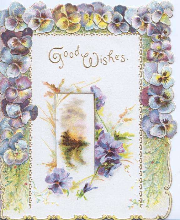 GOOD WISHES in gilt, 3 margin multicoloured pansy border, pansies around inset country road leading away  to distant trees