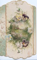 NOT THE GIFT BUT THE GIVING in gilt on vertical pale green marginal column, multicoloured pansies in design round rural vignette