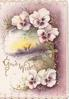 GOOD WISHES in gilt,  purple & white pansies around rural inset with windmill, purple background, embossed