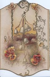 RING JOY YE GOLDEN BELLS bronze & yellow pansies below silver bells in front of rural inset