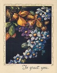TO GREET  YOU blue clematis trails from top right to bottom left, clusters of golden leaves, black background