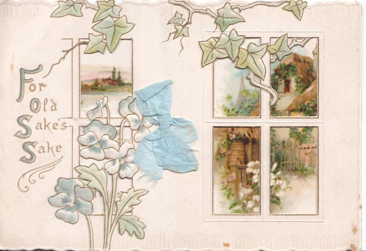 FOR OLD SAKE'S SAKE stylised blue pansies & ivy, 6 large perforated windows in front of rural insets