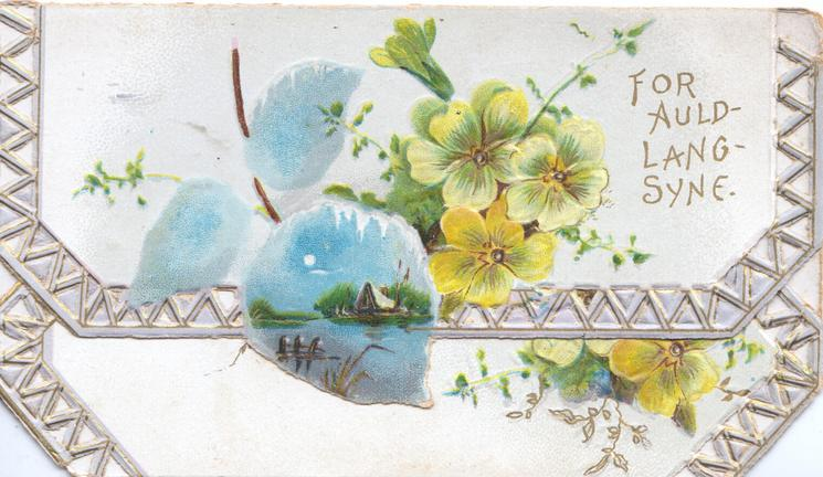 FOR AULD-LANG-SYNE right, yellow primroses watery night rural scene in blue inset, more primroses on bottom flap