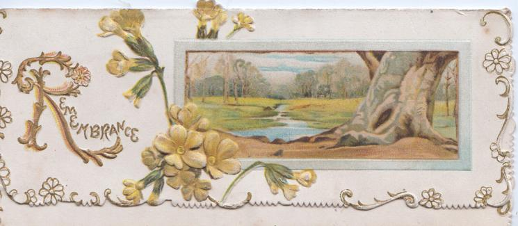 REMEMBRANCE (R illuminated) left, yellow primroses to left of framed rural inset showing large tree