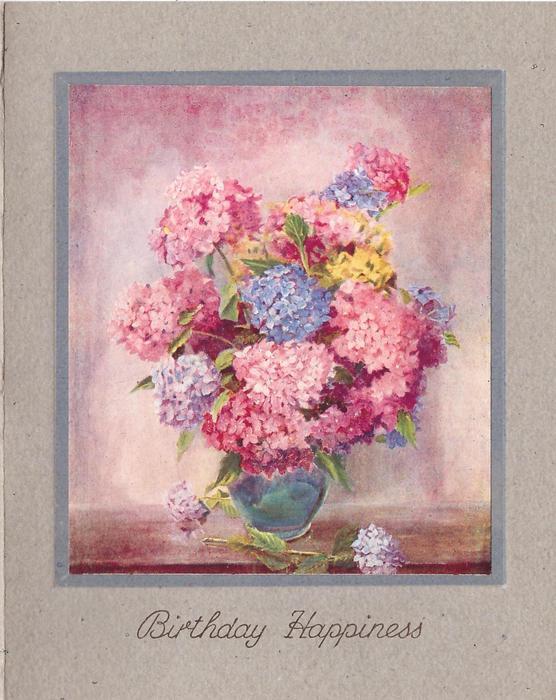 BIRTHDAY HAPPINESS pink & blue hydrangeas in blue vase, pink background, thin blue border