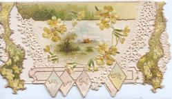 WITH EVERY GOOD WISH at base, yellow primroses above perforated white designs round watery rural inset