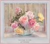 GREETINGS ON YOUR 21ST BIRTHDAY opt. in gilt, yellow & light pink roses in glass vase