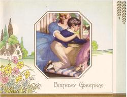 BIRTHDAY GREETINGS perforation reveals 3 children knealing on bench looking out window, cottage & flowers left