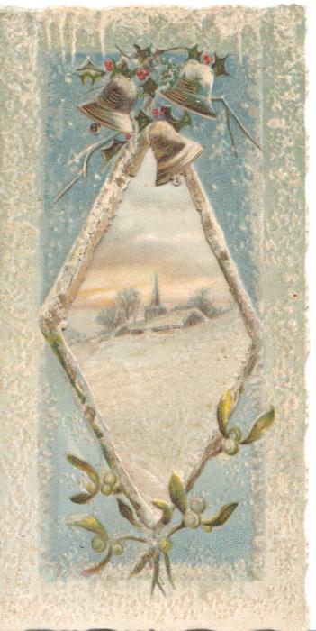 no front title, holly &  bells above large perforation cut to reveal winer landscape on folded back page, mistletoe below