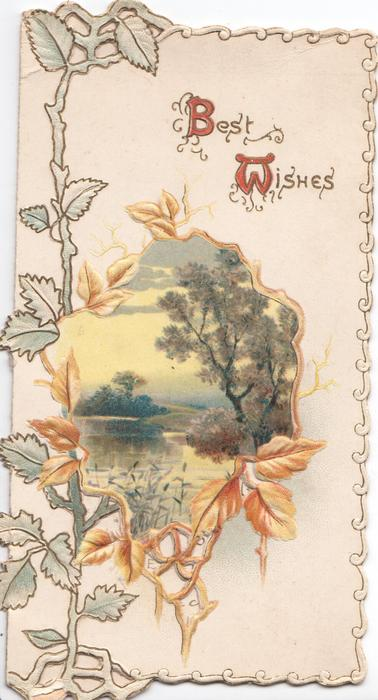 BEST WISHES (B & W illuminated) virginia creeper leaves left & below perforated gilt edged watery rural inset