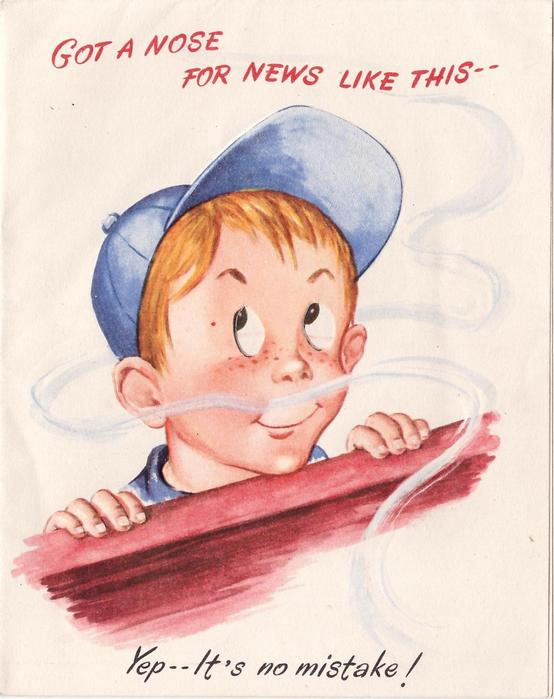 """GOT A NOSE FOR NEWS LIKE THIS -- YEP IT""""S NO MISTAKE! boy in blue cap sniffs wafting smell"""