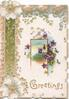 GREETINGS (G illuminated) in gilt below, violets round small rural inset, white wild roses, ginkgo leaves & green design left