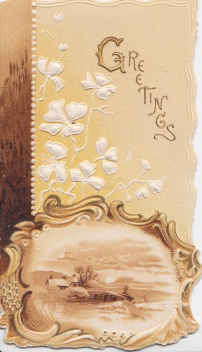 GREETINGS in gilt upper right, ginkgo leaves & stylised flowers above watery rural inset in brown