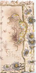 GREETINGS in gilt left, stylised gilt & white design with many pale purple daisies & watery rural inset with butterfly