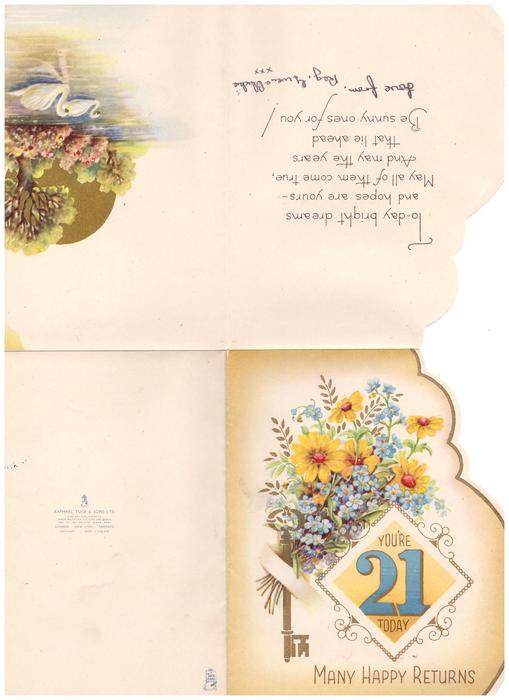 YOU'RE 21 TODAY in oblong inset, below forget-me-nots & yellow flowers with gilt key MANY HAPPY RETURNS below