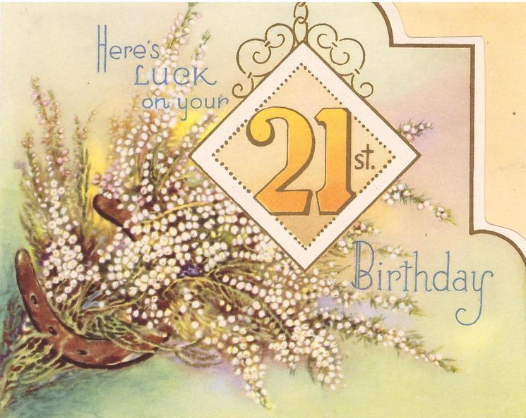 HERE'S LUCK ON YOUR 21ST BIRTHDAY white heather & horseshoe behind oblong insert with number 21