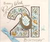 EVERY GOOD WISH ON YOUR 21 ST BIRTHDAY glittered floral numbers, 6 inset banners, gilt horsehoe, blue bow