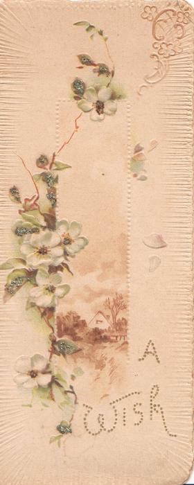 A WISH glittered white roses left & above vertical rural inset in brown