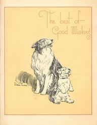 THE BEST OF GOOD WISHES two dogs sit and look up/right, yellow background with thin red border