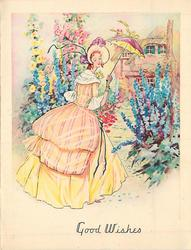 GOOD WISHES lady in yellow dress with pink stripes, matching bonnet & parasol, butterfly on shoulder, many tall  flowers