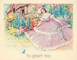 TO GREET YOU woman in extravagant mauve dress curtsies at bluebird, flower garden & cottage behind