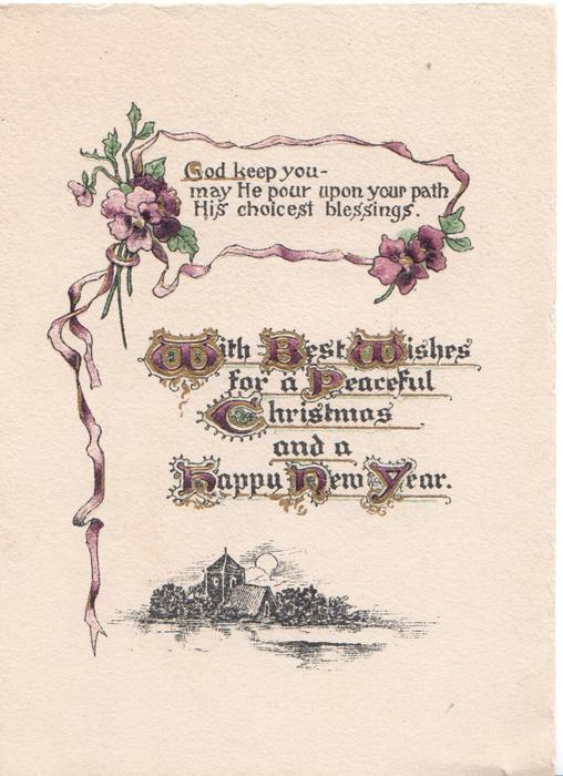 purple pansies & ribbon round GOD KEEP YOU- MAY HE POUR UPON YOUR PATH HIS CHOICEST BLESSINGS