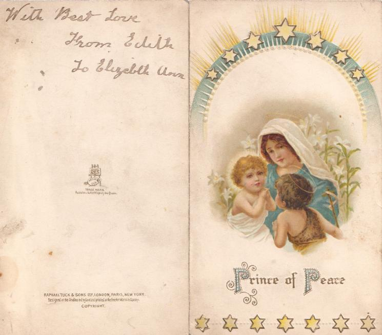 PRINCE OF PEACE (P & P illuminated) Baby Jesus, Mary & angel with halo, lilies behind, embossed design of yellow stars above & below
