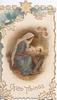 GLAD TIDINGS  Baby Jesus & Mary in stable, 3 angels  above right, design of stylised holly & stars