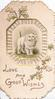 LOVE AND GOOD WISHES in gilt below insert of standing kitten facing half right in perforated design with gilt ivy leaves above & below