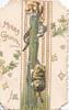 MERRY GREETING in gilt, inset of two kittens climbing a pole, brown & white kitten looks down fron top of pole, vertical rope design, stylised ivy leaves around