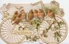 GOOD WISHES in gilt, 7 English robins perch on holly in front of bicycle in elaborate perforated white & yellow design