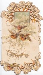 GREETINGS in gilt, 3 English robins fly front carrying chains in elaborate perforated white floral design with inset