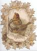 GREETINGS in gilt, stylised holly round inset of  2 English  robins perched on snowy branch