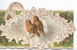 2 English robins perched on branch look up at GOOD WISHES on horseshoe upper left, stylised holly around