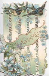 GREETINGS in gilt, 4 bluebirds of happiness fly across top,.embossed heavily pertorated design, blue cornflowers  below