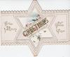 GREETINGS in large gilt letters across perforated star design, WITH EVERY GOOD WISH also on front