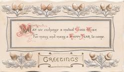 GREETINGS in gilt below inset with message & stylised oak leaves & acorns above & below
