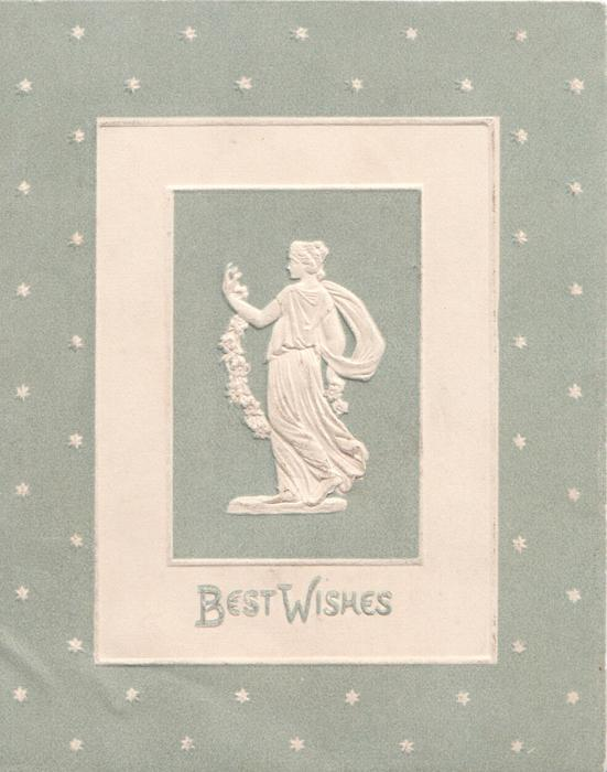 BEST WISHES below statue of woman holding floral chain behind her back, facing front looking left, pale grey starry background