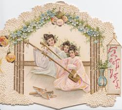 GREETINGS in red right, 3 Japanese girls playing music below forget-me-nots, elaborate design with lanterns, fan & vase