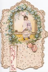 GREETINGS TO YOU in red below Japanese girl before window framed in forget-me-nots, elaborate design, lanterns around