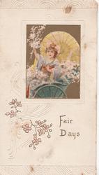 FAIR DAYS in gilt, Japanese girl with parasol & flowers in rickshaw, stylised flowers in embossed design