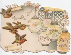 HEALTH HAPPINESS BEST WISHES in gilt on Japanese lanterns below perforated window, 4 English robins flying