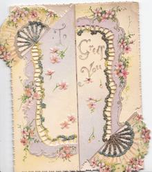 TO GREET YOU in gilt covered with perforated complex Japanese fan & cherry blossom glittered design